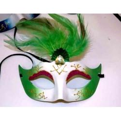 Loup masque avec décor bijoux et plume Accessoires de fête 85009FO