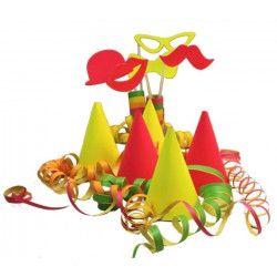 Déco festive, Sachet cotillons pour 5 personnes FLUO, 21002F, 5,90€