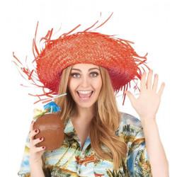 Chapeau hawaï paille orange adulte Accessoires de fête 148418