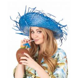 Chapeau hawai paille bleue adulte Accessoires de fête 148416-28595