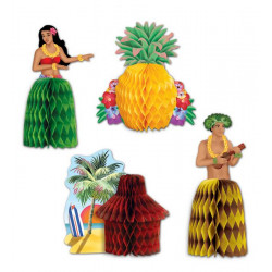 Centres de table hawaï papier alvéolé coloré X 4 Déco festive 153354
