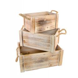Cagette bois avec anses Déco festive 10228