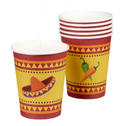 Gobelets carton mexicains Fiesta 25 cl Déco festive 54410