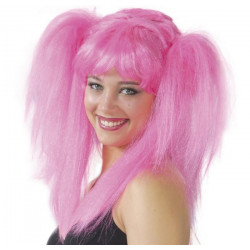 Perruque manga rose fluo Accessoires de fête 4554