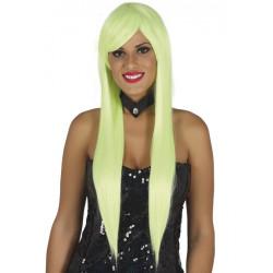 Perruque longue Lisa verte Accessoires de fête 4120