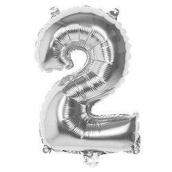 Déco festive, Ballon aluminium argent 36 cm - Chiffre 2, 22012, 0,99€