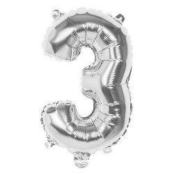 Ballon aluminium argent 36 cm chiffre 3 Déco festive 22013