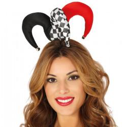 Mini chapeau bouffon rouge et noir adulte Accessoires de fête 13039