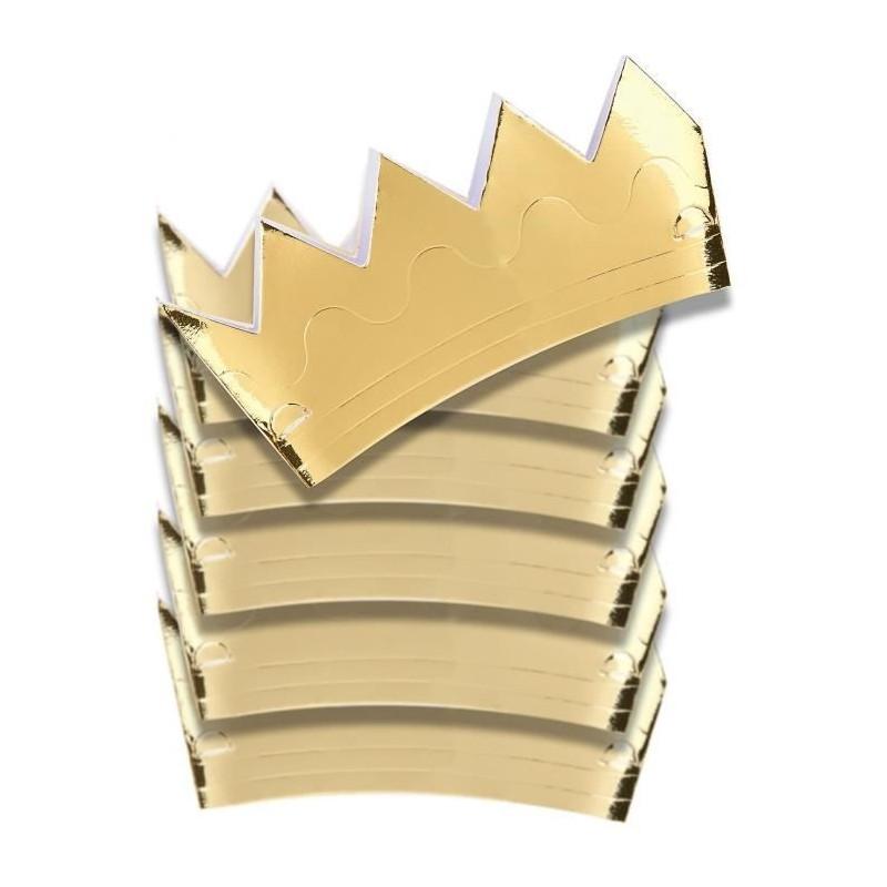 Sachet 6 couronnes carton doré Accessoires de fête 4017