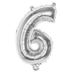 Ballon aluminium argent 36 cm - Chiffre 6 Déco festive 22016