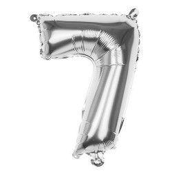 Déco festive, Ballon aluminium argent 36 cm - Chiffre 7, 22017, 0,99€
