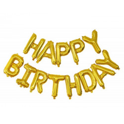 Guirlande ballons mylar lettres Happy Birthday or Déco festive 333671