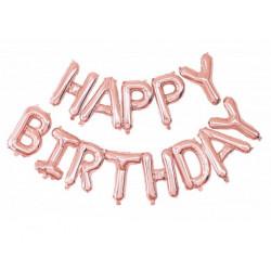Guirlande ballons mylar lettres Happy Birthday rose doré Déco festive 333672