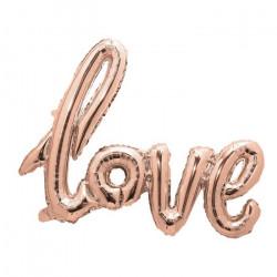 Ballon aluminium Love rose doré 73 cm Déco festive 333662