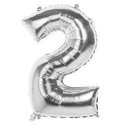 Ballon aluminium argent 86 cm chiffre 2 Déco festive 22032
