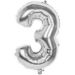 Ballon aluminium argent 86 cm - Chiffre 3 Déco festive 22033