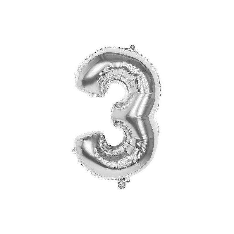 Ballon aluminium argent 86 cm chiffre 3 Déco festive 22033
