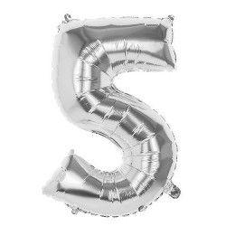 Ballon aluminium argent 86 cm chiffre 5 Déco festive 22035