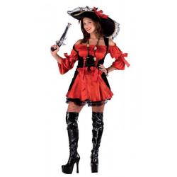 Déguisement femme pirate noir et rouge taille unique Déguisements 70590