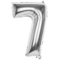 Ballon aluminium argent 86 cm Chiffre 7 Déco festive 22037