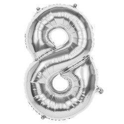 Déco festive, Ballon aluminium argent 86 cm - Chiffre 8, 22038, 3,50€