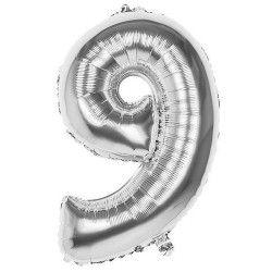 Ballon aluminium argent 86 cm chiffre 9 Déco festive 22039