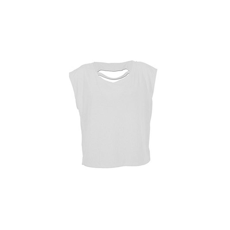 T-shirt blanc coton doux femme Accessoires de fête LAX-BLANC