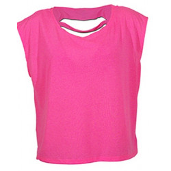 T-shirt fuchsia fluo coton femme Accessoires de fête LAX-FUCHSIA