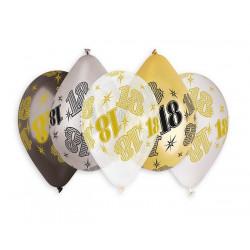 Sachet 10 ballons métallisés 30 cm multicolores chiffre 18 Déco festive BA21470