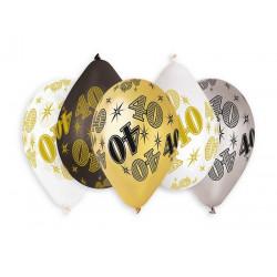 Sachet 10 ballons métallisés 30 cm multicolore chiffre 40 Déco festive BA21474