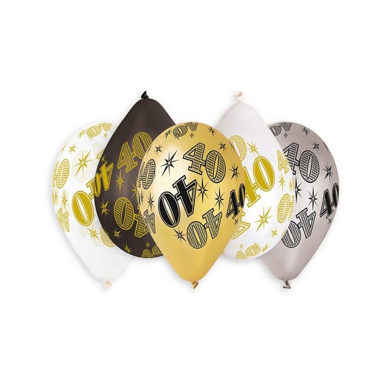 Sachet 10 ballons métallisés 30 cm multicolore chiffre 40 Déco festive 322521