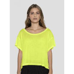 T-shirt jaune fluo femme Accessoires de fête 80S-JAUNE