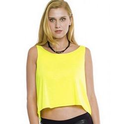 T-shirt dos nu jaune fluo UV femme Fluo-néon-Lumineux SHAKI-JAUNE