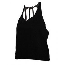 T-shirt dos nu noir femme Accessoires de fête SHAKI-NOIR
