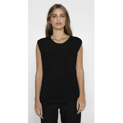 T-shirt noir sans manches femme Accessoires de fête MARION-NOIR