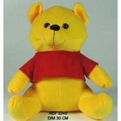 Peluche ours jaune 30 cm BT411 Jouets et articles kermesse 2243