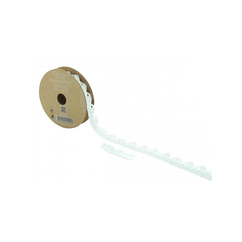 Ruban dentelle blanche adhésif 2 m x 1 cm Déco festive 2090BL