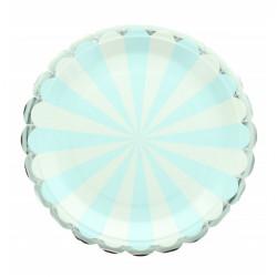 Assiettes carton rayures bleues 8 pièces 23 cm Déco festive 2438BE