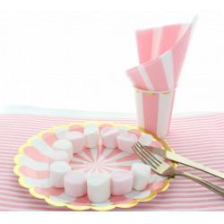 Assiettes carton rayures roses 8 pièces 23 cm Déco festive 2438RO