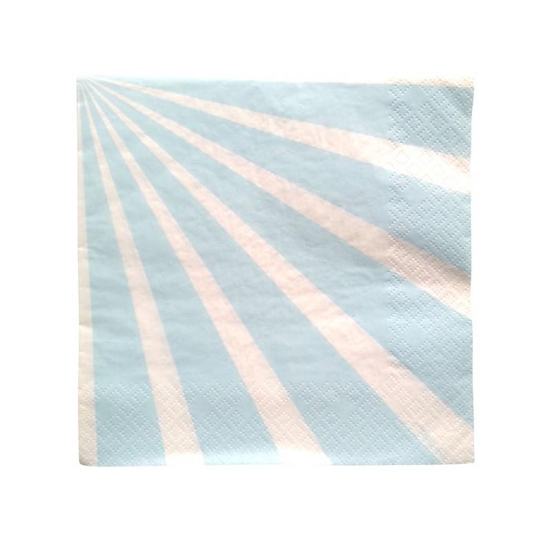 Serviettes papier rayures bleues x 20 Déco festive 2455BE