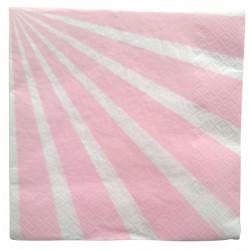 Serviettes papier rayures roses x 20 Déco festive 2455RO