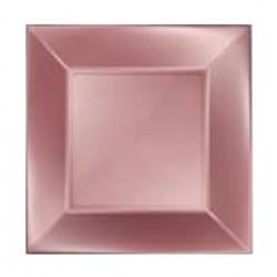 Assiettes carrées carton x 8 rose gold 17 cm Déco festive 706RD