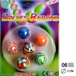 Balles rebondissantes x 6 Jouets et articles kermesse 22320