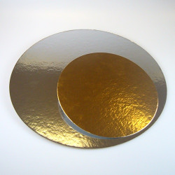 Support pour gâteau rond argent-or x 3 - 30 cm Cake Design FC2630RD