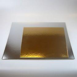 Support pour gâteau carré argent-or x 3 - 30 cm Cake Design FC2730SQ