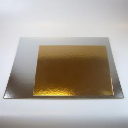 Support pour gâteau carré argent-or x 3 - 35 cm Cake Design FC2735SQ
