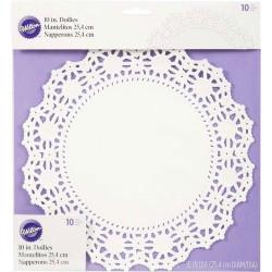 Napperon blanc papier sulfurisé rond 25 cm 10 pièces Cake Design 2104-90210