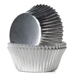 Caissettes à cupcakes House of Marie feuille argentée x 24 Cake Design HM2019