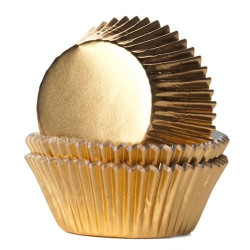 Caissettes à cupcakes House of Marie feuille dorée x 24 Cake Design HM2026