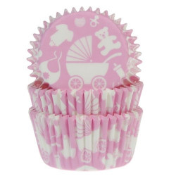 Caissettes à cupcakes House of Marie rose layette x 50 Cake Design HM5126
